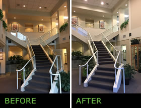 Seattle commercial entryway stair lighting before and after